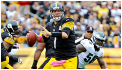 Ben Rothlisberger playing for the Steelers