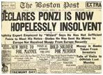 newspaper report of Charles Ponzi charged with 22 counts of larceny