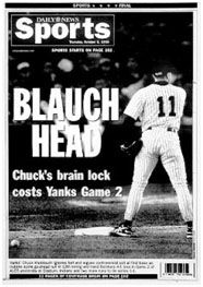Chuck Knoblauch on back cover of the Ny Daily News