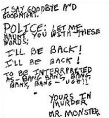 David Berkowitz letter to police