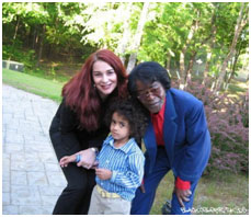 James Brown with wife and son