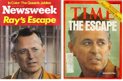 James Earl Ray on cover of magazines after he broke out of prison
