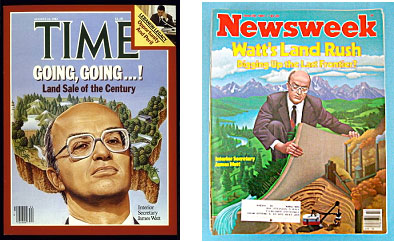 James Watt on the cover of Time and Newsweek magazines