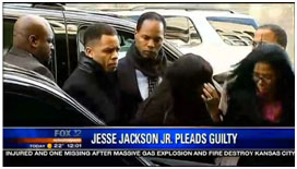 Jesse Jackson Jr. with reporters after he plead guilty
