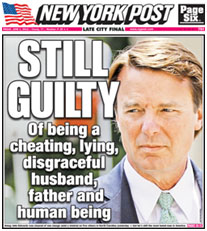 John Edwards on the cover of the New York Post