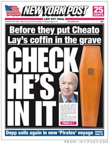 Kenneth Lay on cover of New York Post after his death