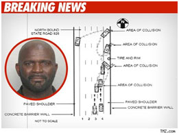 tv report of Lawrence Taylor's 2009 hit and run crash