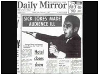 newspaper account of Lenny Bruce's comedy act