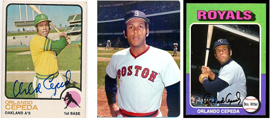 Orlando Cepeda baseball cards for Oakland, Boston and Kansas City