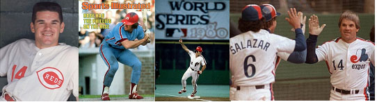 Pete Rose playing for different major league teams