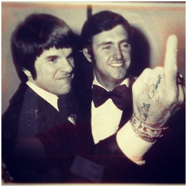 Pete Rose giving the middle finger