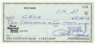 Pete Rose check made out to cash for $10,000