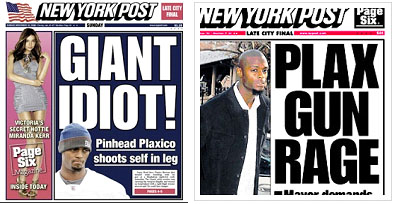 new york newspaper covers reporting Plaxico Burress shooting