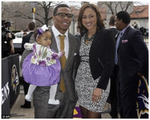 Ray Rice with his girlfriend and daughter