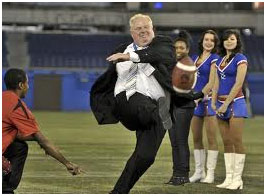 Rob Ford kicking a football