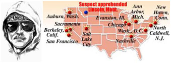 map of unabomber attacks