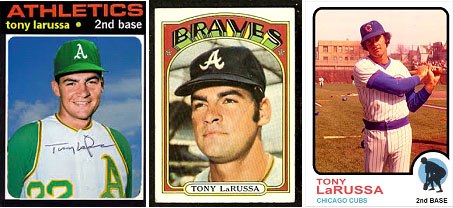 Tony LaRussa's baseball cards for the A's, braves and Cubs