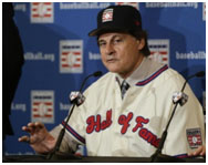 Tony LaRussa giving his hall of fame speach