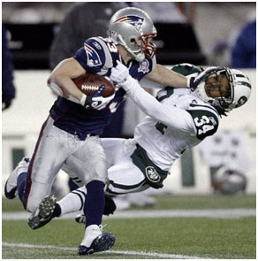 Wes Welker playing for the patriots