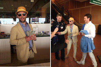 Wes Welker handing out money to people at the kentucky derby