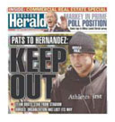 newspaper reporting the Patriots cut Aaron Hernandez